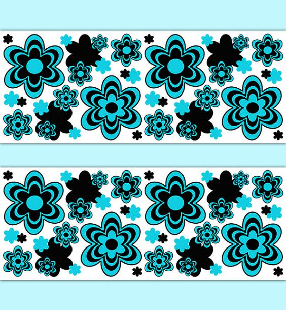 TURQUOISE FLORAL BORDER Decals Wall Art Teen Girl Teal