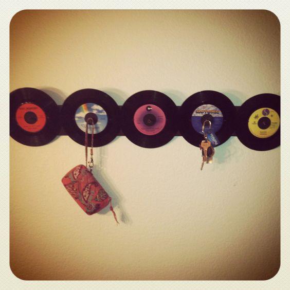 45 record coat rack I made! #cheap #easy #45s #retro #records