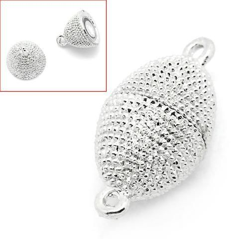 Findings Large 25mm Silver Plated Magnetic Rhinestone Clasp