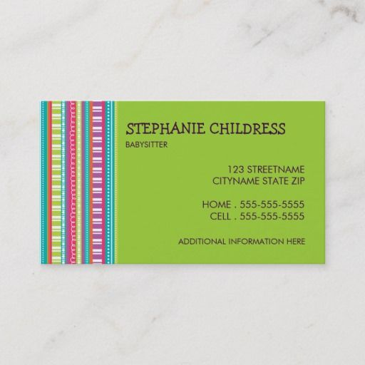 Colorful Stripes Babysitting Business Card In Lime Zazzle Com Babysitting Striped Business Card Quality Cards