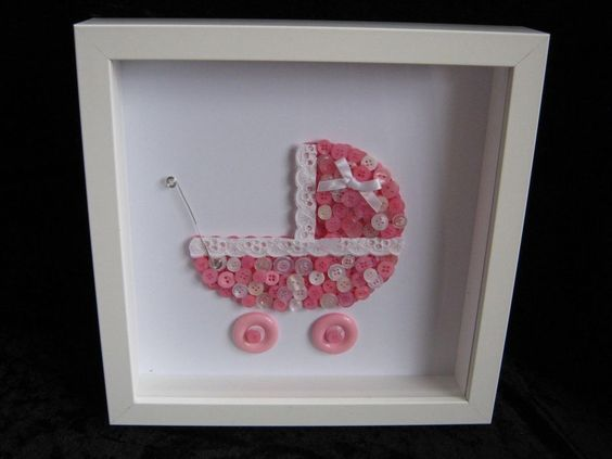 UNIQUE HANDMADE PINK PRAM NURSERY BUTTON ART PICTURE FRAMED PERSONALISED
