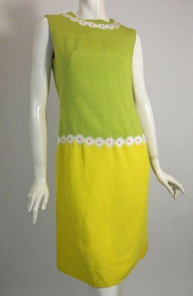 Daisy Chain Yellow & Green Sheath Dress circa 1960s