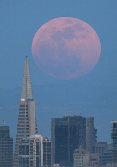 Supermoon over the city taken from Marin Headlands