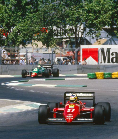 Michele Alboreto Ferrari 156, DNF transmission, ahead of Riccardo Patrese, Alfa Romeo 185T, DNF exhaust.