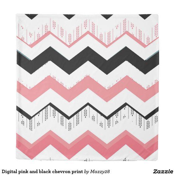 Digital pink and black chevron print duvet cover
