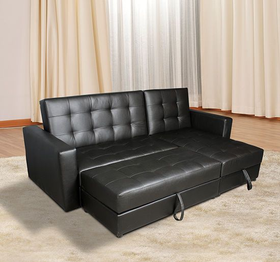Homcom 2 In1 Sofa Bed Chaise Loveseat Sectional Functional Storage Sleeper Black Ebay Sofa Bed Set Sofa Bed With Storage Sofa Bed With Chaise
