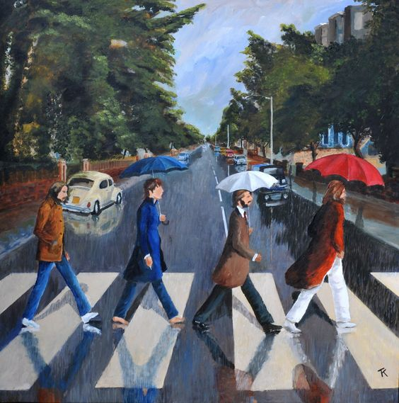 Abbey Road in the Rain, by Tony Kenwright (acrylic on canvas, 2016)