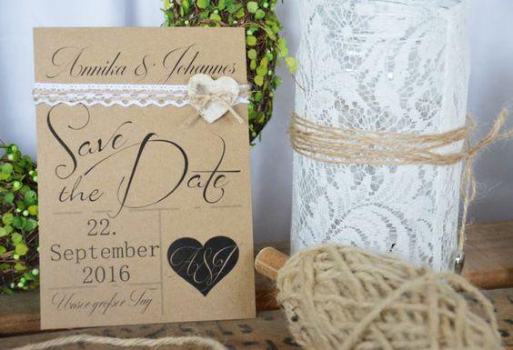"""Einladungskarten - Vintage 25x Save the Date Karte """"Lina"""" Kraft  - ein Designerstück von majalino bei DaWanda"""