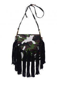Tassels Camouflage Print Cover Crossbody Bag
