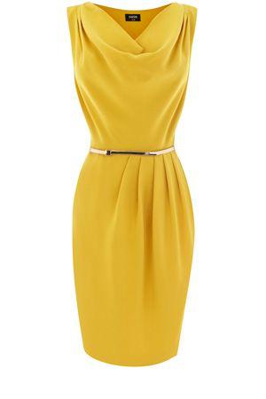 Cowl Drape Dress in mustard
