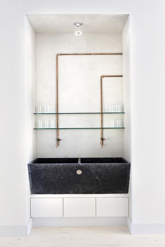 Handmade copper pipe faucets. Tenoverten Nail Salon by Studio DB