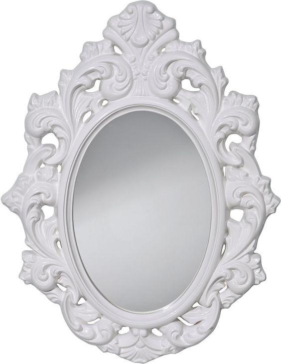 0-034640>Resplendent Oval Mirror HI Gloss White