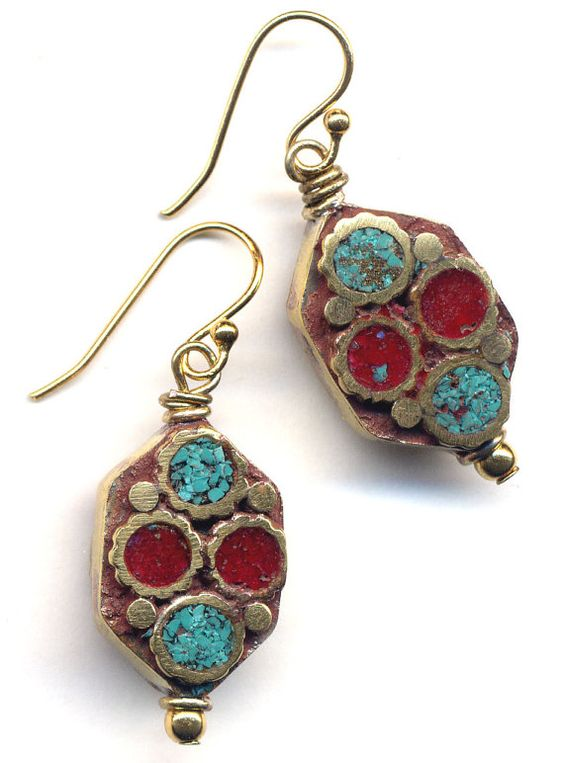 Tibet Coral and Turquoise  Earrings Nepal Beads on 18 by Annaart72