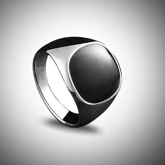 2014 moda de acero Titanium para hombre negro Onyx anillo de piedra de plata grueso plateado Base anillos de aceite en Anillos de Joyería en AliExpress.com   Alibaba Group