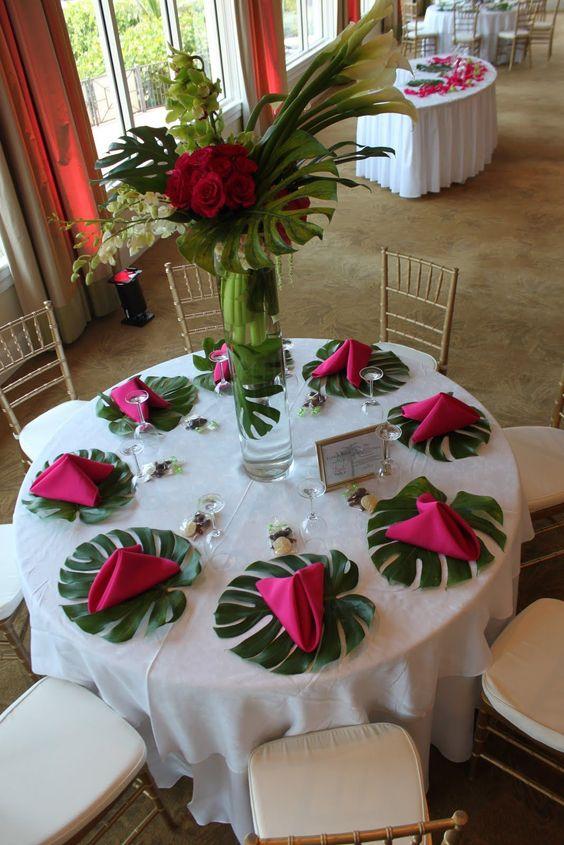 Monstera Leaf Tropical Reception Wedding Flowers Wedding Decor Wedding Flow