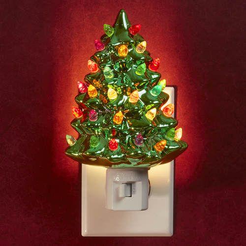 2 Pack Ceramic Christmas Tree Night Lights Christmas Tree Night Light Ceramic Christmas Trees Christmas Tree