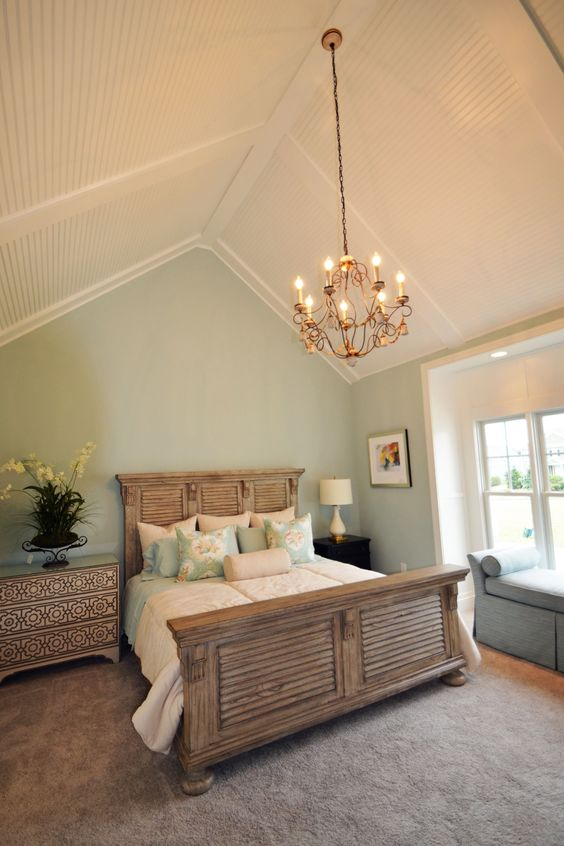 Seaside Master Bedroom With Vaulted Ceiling With Low Profile Coffer And Bead Board The Seaside