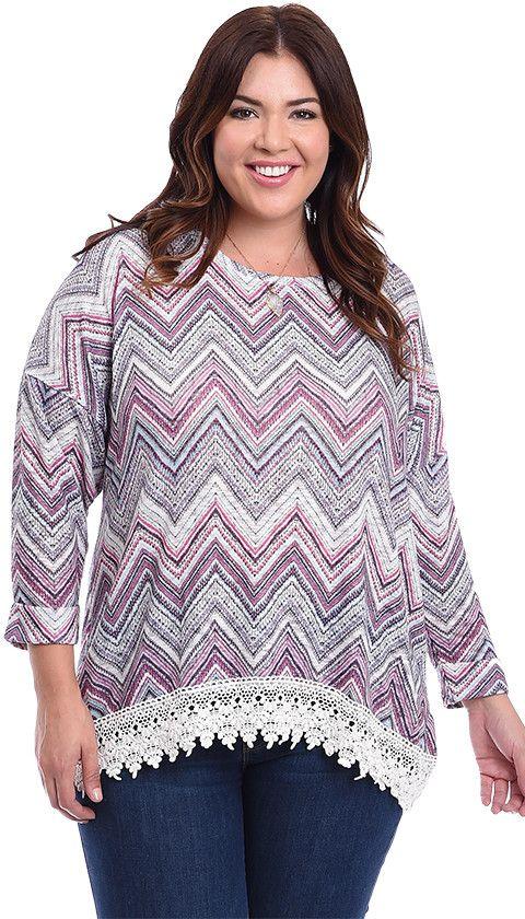 Plus Size Dreamscape Crochet Trimmed Printed Knit Top