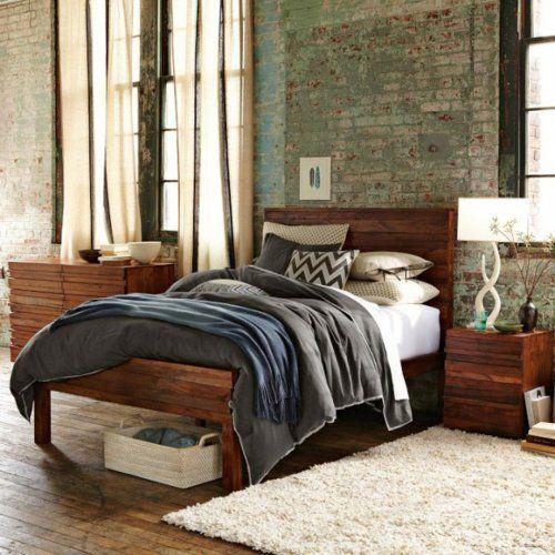 dunkles holz möbel schlafzimmer ziegelwand weich teppich