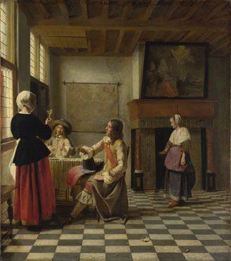 Pieter de Hooch: 'A Woman Drinking with Two Men'  http://www.nationalgallery.org.uk/paintings/pieter-de-hooch-a-woman-drinking-with-two-men