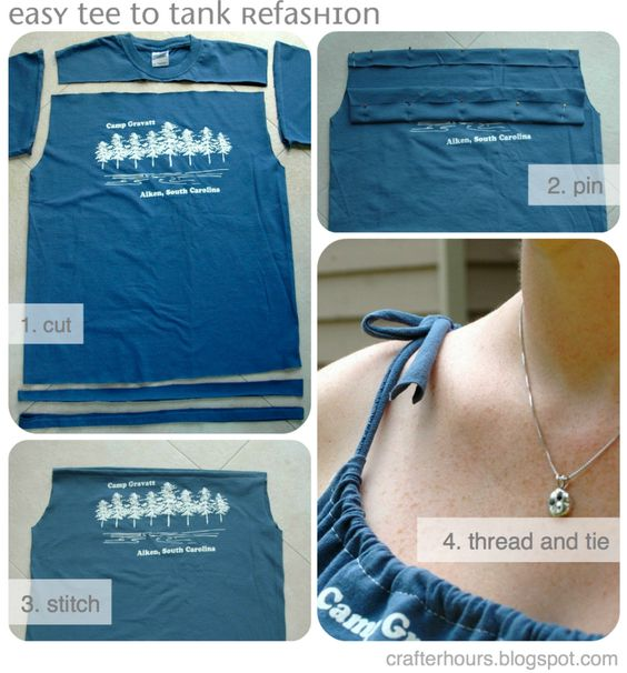 Great idea for t shirt to tank top. This is the same pattern I use to make little girl dresses for kids in Africa, except we use pillow cases.: Tank Tops, Tank Refashion, Diy Clothing, Sewing Machine, Tshirt, T Shirts, Teeshirt