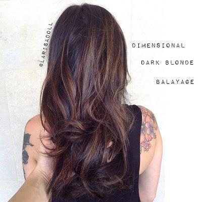 Balayage highlights dark brown hair dimensional natural simple