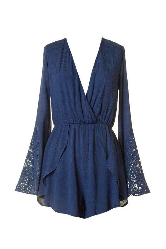 Summer Story Lace Accent Romper - Indigo