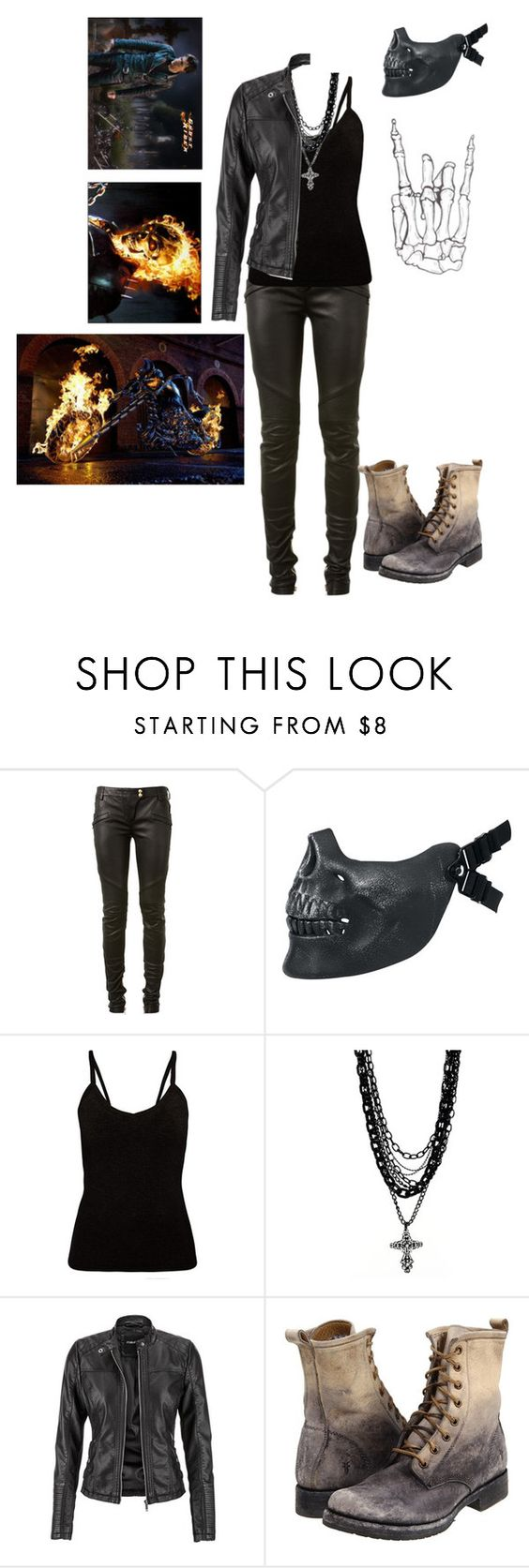 """Nikita Blaze (ghost rider daughter)"" by shinedownsiren ❤ liked on Polyvore featuring Balmain, Poizen Industries, Amrita Singh, maurices and Frye"