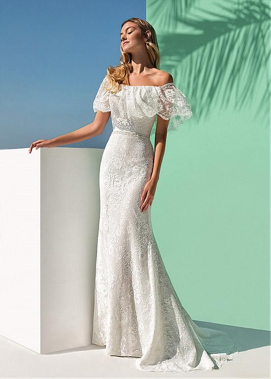 Stunning Lace Off-the-shoulder Neckline Mermaid Wedding Dress With Beadings