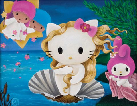 One of 9 Hello Kitty Paintings I did for the 3 apples show