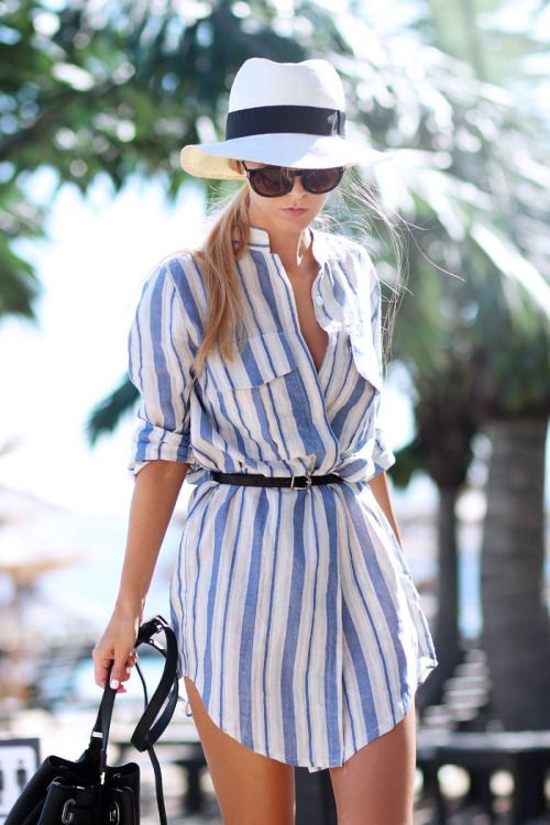 Summer stripes + sun hat.:
