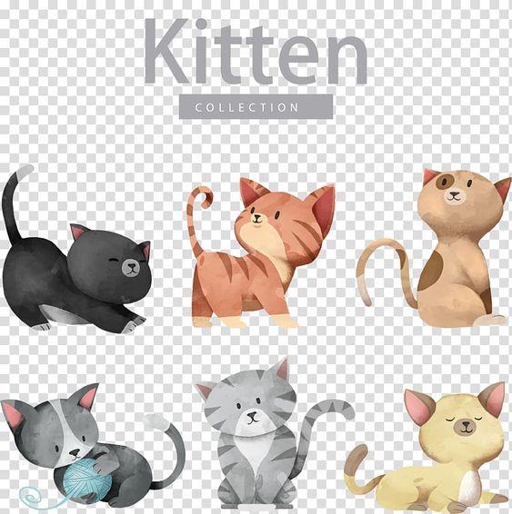 Cat Dog Kitten Illustration Cartoon Cute Cat Kitten Collection Illustrations Transparent Background P Kitten Cartoon Silver Tabby Kitten Tabby Kitten Orange