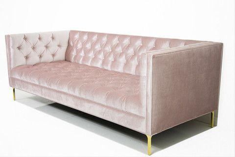 007 Sofa in Trend Blush Velvet | ModShop
