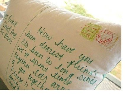 postcard pillow: i jump when i see personal mail in my letterbox!