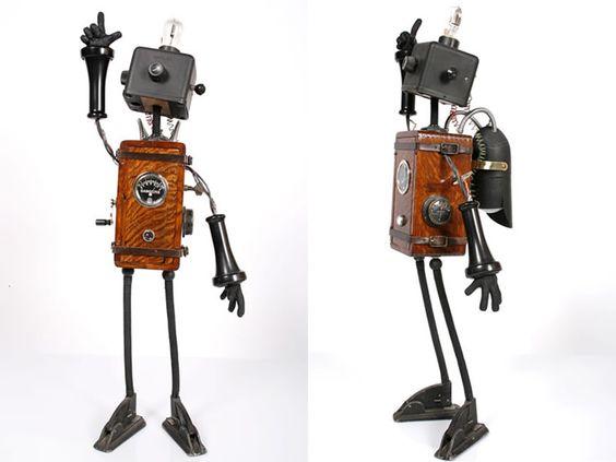 Tim Burton-esque robot sculptures