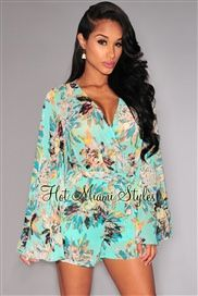 Mint Floral Print Faux Wrap Bell Sleeves Romper