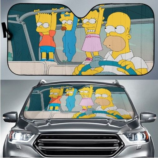 Simpsons Cartoon Funny Car Sun Shades Car Sun Shade Simpsons Cartoon Car Humor