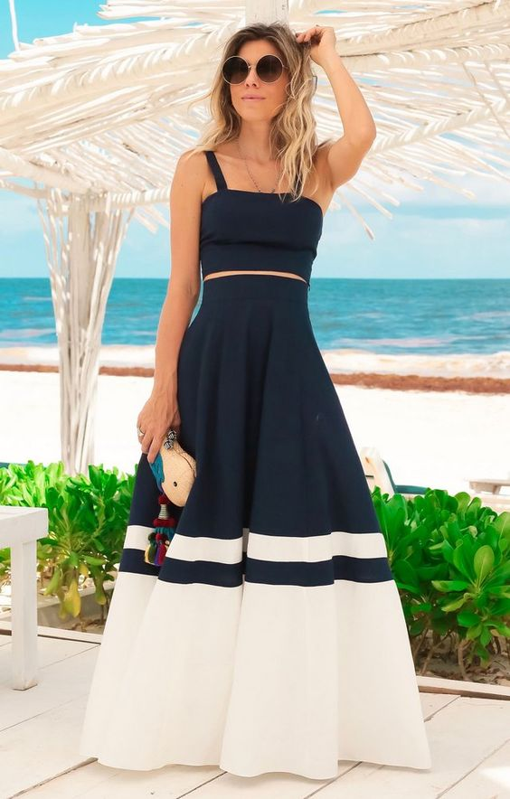 Conjunto Azul Marinho Cropped / Saia Longa | Tulum Collection Summer 19 - Blessed Store - Loja Online : Vestidos, blusas e mais. O melhor da tendência.