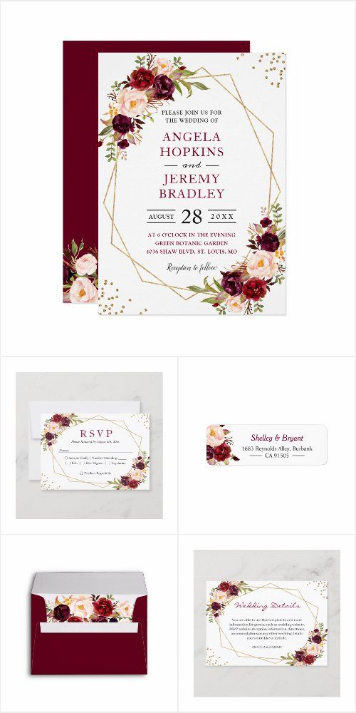 Burgundy Floral Geometric Frame Invitation Suite Floral Wedding Invitations Popular Wedding Invitations Wedding Invitation Theme