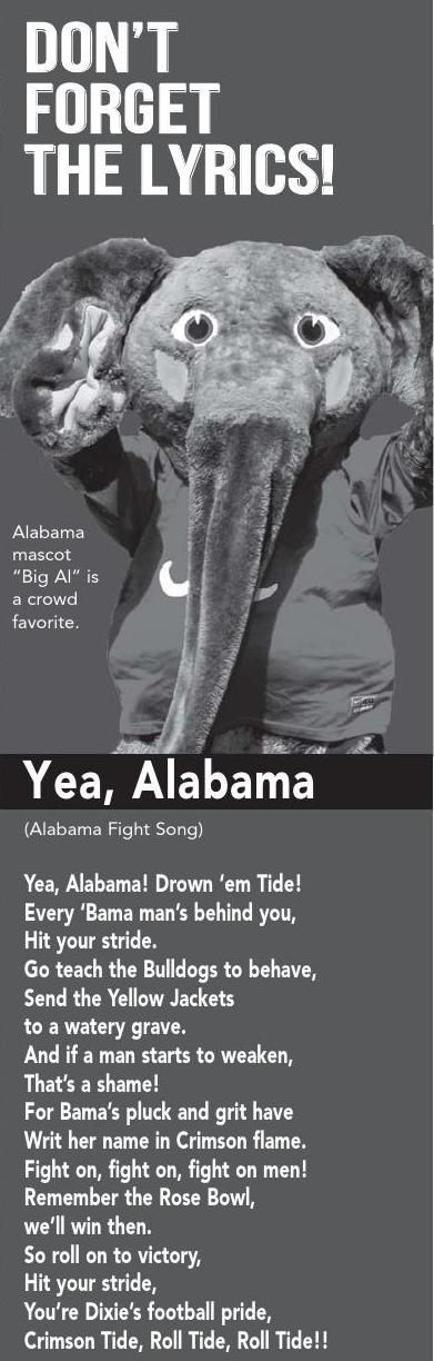 Lyrics to Alabama's Fight Song,