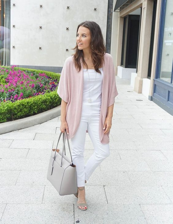 How to Wear All White in Spring | Pink Cardigan | Houston Fashion Blogger Lady in Violet #howtowearwhite #pinkcardigan
