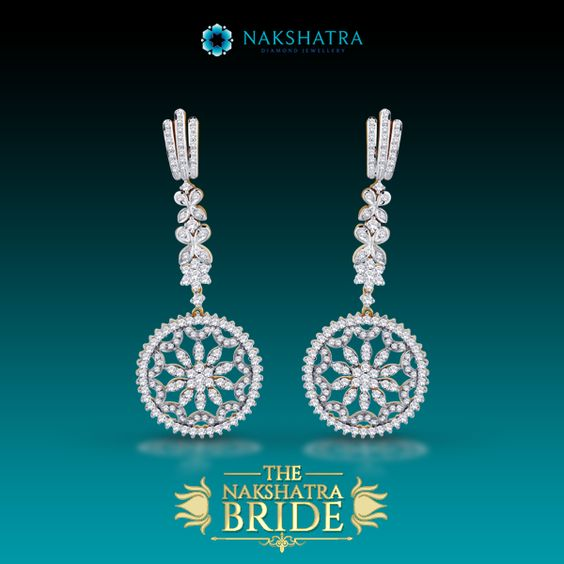 The abundance of diamonds on these earrings mirrors the twinkle of a million stars in the eternal night sky. #Diamonds #Earrings #Twinkle #MillionStars #Stars #Eternal #NightSky #Beautiful #Gift #GiftForOccassion #BridalWear #Bride