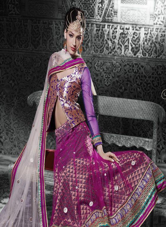 Purple Off White Net Lehenga Choli SC507