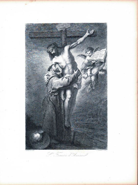 Saint Francis of Assisi Embracing Crucified Christ c. 1880 Engraved Art Print