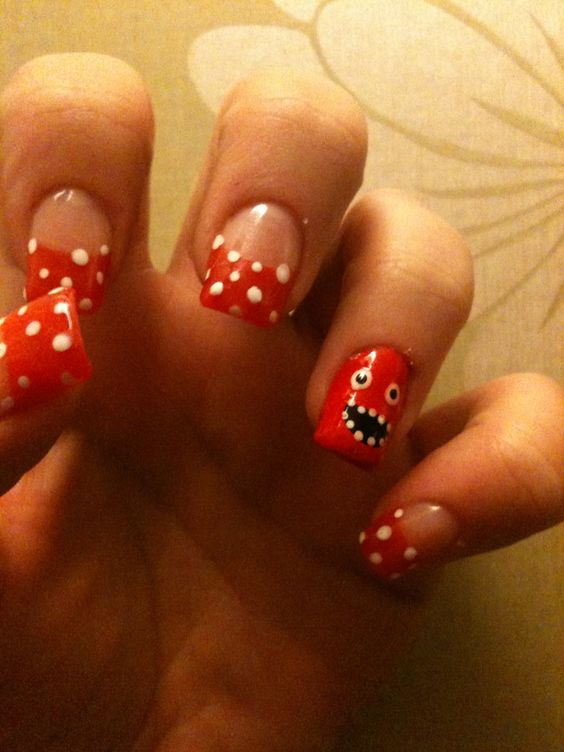 Red Nose Day nail art
