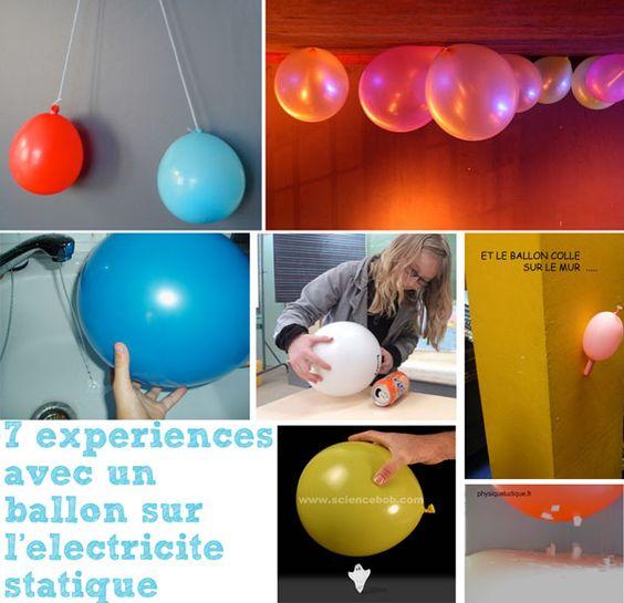 pour coller des ballons au plafond : les frotter sur les cheveux avant : grâce à l'électricité statique, ils restent collés au plafond