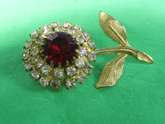 Red & Clear Flower Floral Rhinestone Pin Brooch Vintage Trendy Style Elegant Jewelry Piece by HipTrends2015 on Etsy