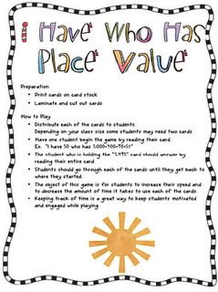 I Have Who Has Place Value game (5th grade review) Could do this with Multiplication facts, fractions to decimals