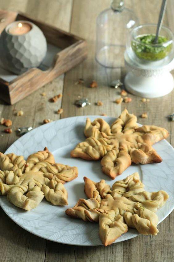 Mini étoiles festives au pesto a lail des ours et aux noix (sans