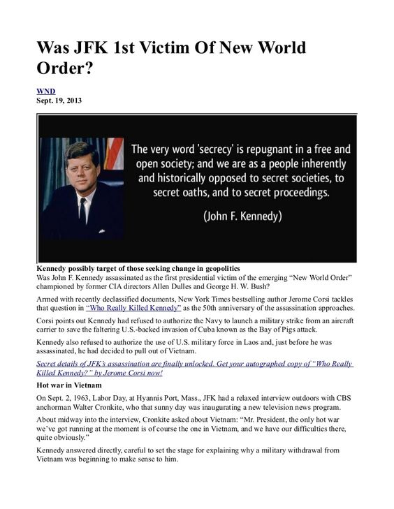 Was JFK 1st Victim Of New World Order? INFOWARS.COM BECAUSE THERE'S A WAR ON FOR YOUR MIND